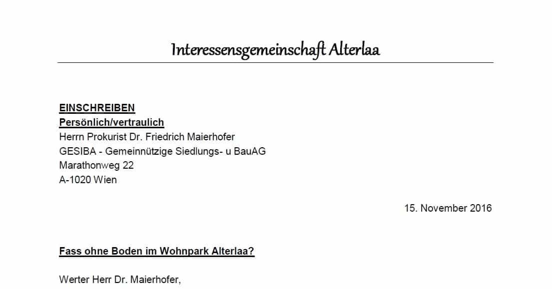 IG Alterlaa an GESIBA und Friedrich Maierhofer