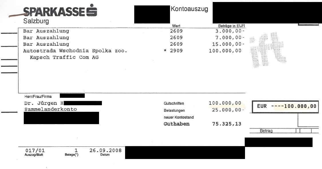 Kontoführung für Kapsch TrafficCom vom Rechtsanwalt