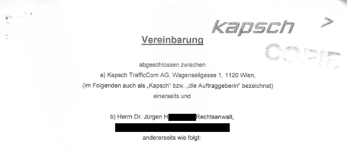 Vertrag zwischen Kapsch TrafficCom und dem Rechtsanwalt