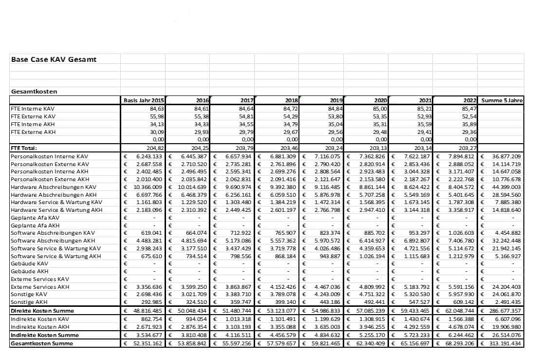 KAV und AKH - IKT Betriebskonzept - 2015 - 2022 - Fass ohne Boden