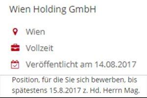 Ausschreibung Geschäftsführer/in (Eurocomm PR GmbH) - Screenshot Kurier.at