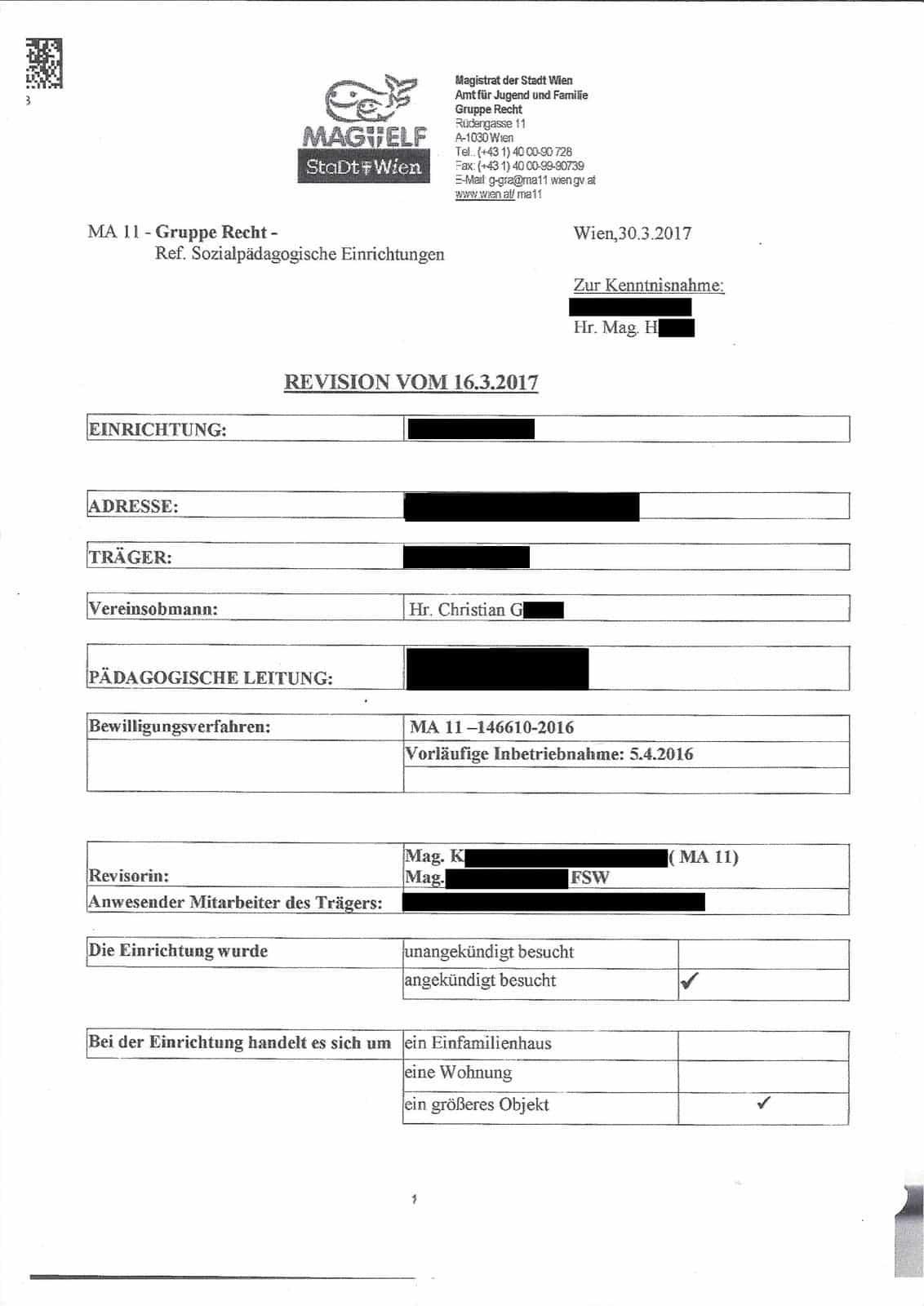 Revision vom 16.03.2017 - MA 11 und FSW
