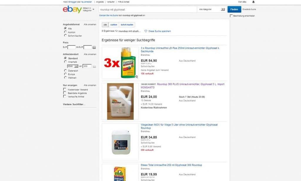 Glyphosat bei ebay